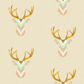 Telluride Deer Silhouette in Mint, Coral and Gold Dust