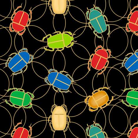 cloisonne scarab - black fabric by victorialasher on Spoonflower - custom fabric