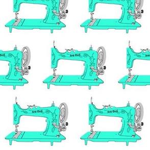 Sew Geek Sewing Machines in Aqua