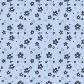 grungy flowers ditsy - blue
