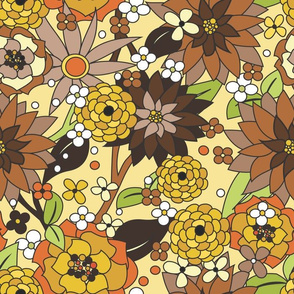 70s flowers brown