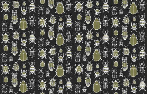 Sketchy Garden Beetles by Friztin fabric by friztin on Spoonflower - custom fabric