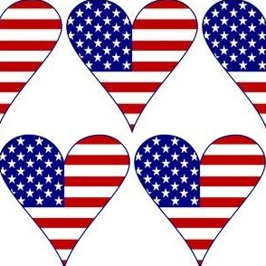 USA Flag Heart Funky Blue with Border