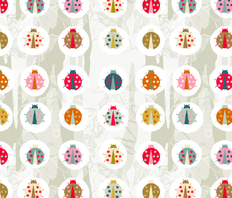 lady beetle on blue gum fabric by creativli on Spoonflower - custom fabric