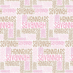 Personalised Name Design - Pinks and Brown