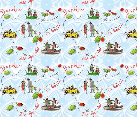 beetle_violette_sacre fabric by violette's_doodling_fun on Spoonflower - custom fabric