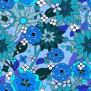 70s flowers blue