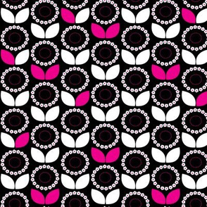 Mod Scandi Floral in Black, White & Hot Pink