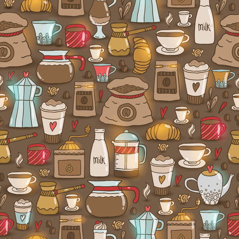 coffee pattern fabric by kostolom3000 on Spoonflower - custom fabric