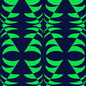 Tribal Mask Green on Navy Blue