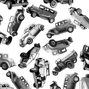 black and white ditsy vintage cars