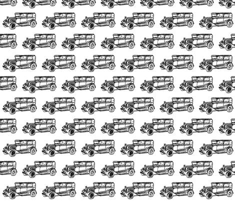 black and white- vintage car sketch
