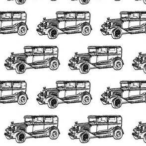 black and white- vintage car sketch