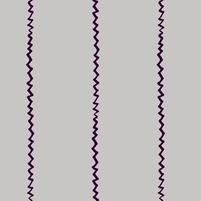 wonky zig zag - grey and midnight purple