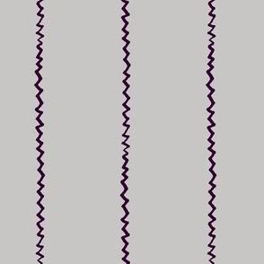 wonky zig zag - grey and midnight purple