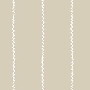 wonky zig zag - sand and white