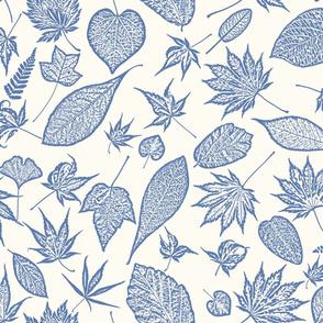 Blue toile leaves