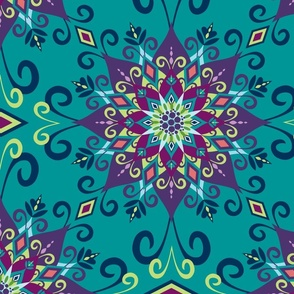 Blooming Mandala-Turquoise-Large Scale