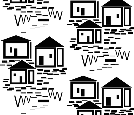 houses_in_shapes fabric by silverspoon on Spoonflower - custom fabric