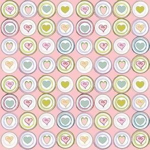 Badge of Hearts-pink mini