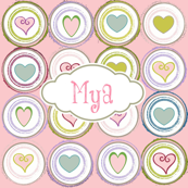 Badge of Hearts-pink personalized