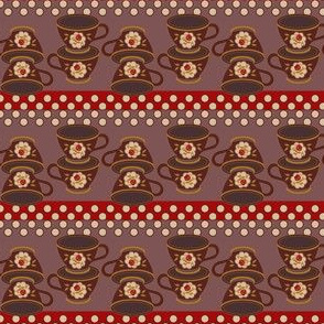 Cup Stacks & Dots Red Brown