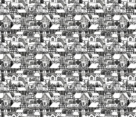 Tudor houses fabric by acornmoon on Spoonflower - custom fabric