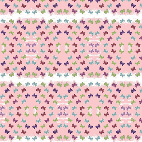 butterfly garden quilt pink -white stripes