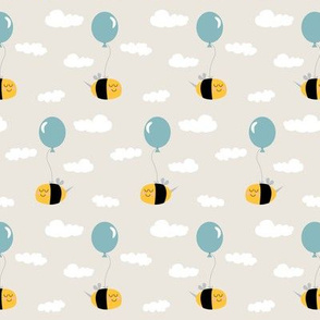 Bee balloon pattern_blue