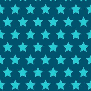 Turquoise Stars on Navy - Large
