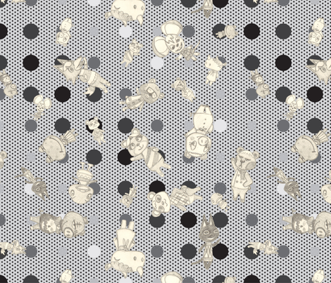 My Neighbors (b&w) fabric by roszilla on Spoonflower - custom fabric