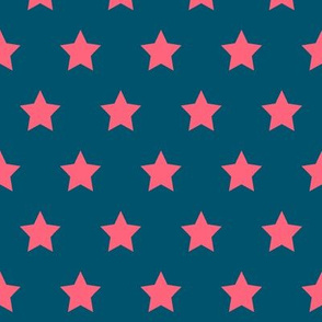 Pink Stars on Navy - Med