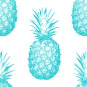 Teal Pineapples - Small tiling fruit pattern