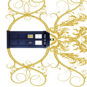 POLICE BOX GOLD DAMASK BORDER