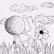hand drawn surreal garden