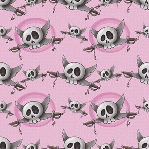 Skull with swords - pink