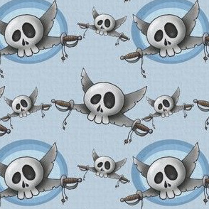 Skull with swords - blue