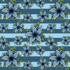 Blue flowers with stripes