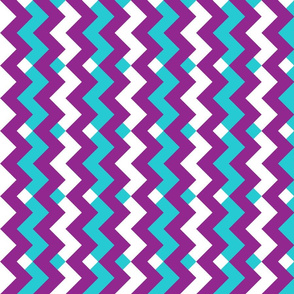 Purple & Turquoise Blue Double Chevron