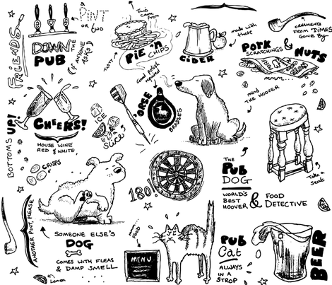 Down the Pub fabric by jammy_fox on Spoonflower - custom fabric