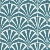 Art deco teal grey chic pattern