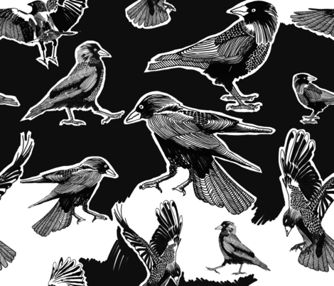 jackdaw_neighborhood fabric by owlsquirrel&twobirds on Spoonflower - custom fabric