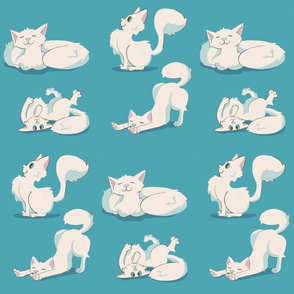 Roly-Poly Kitties (Teal)