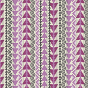 Tribal Triangles-Dark Raspberry, Lavender, and Dark Gray on Cream