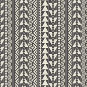Tribal Triangles-Dark Gray & Cream