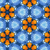 Geometric Blue Flowers with Orange Centers