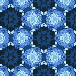 Geometric Blue Flowers