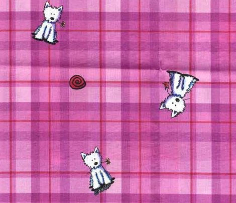 Westies on Pink Plaid