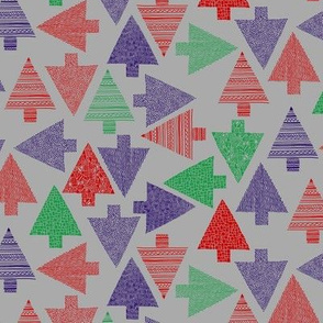 Christmas trees (small) multi-direction - purple, red, green on grey background