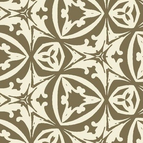 Elegant Vintage Geometric in Green and Cream